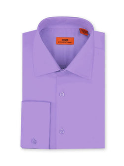 Steven Land Poplin Dress Shirt| Classic Fit | French Cuff | 100% Cotton | Color Lilac