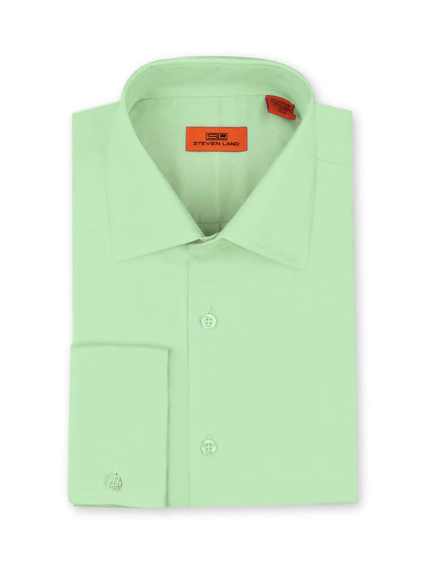 Steven Land Poplin Dress Shirt| Classic Fit | French Cuff | 100% Cotton | Color Lime