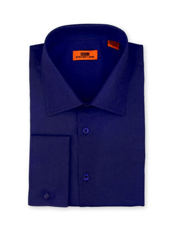 Steven Land Poplin Dress Shirt| Classic Fit | French Cuff | 100% Cotton | Color Navy