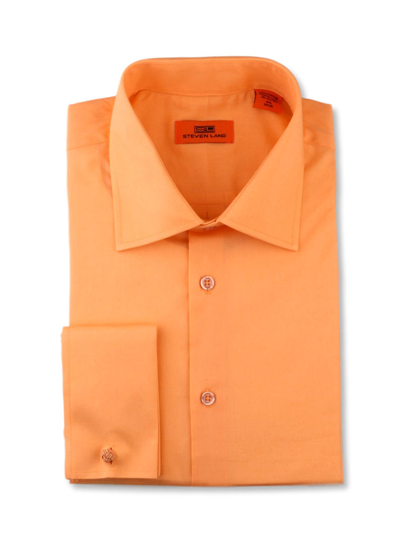 Steven Land Poplin Dress Shirt| Classic Fit | French Cuff | 100% Cotton | Color Peach