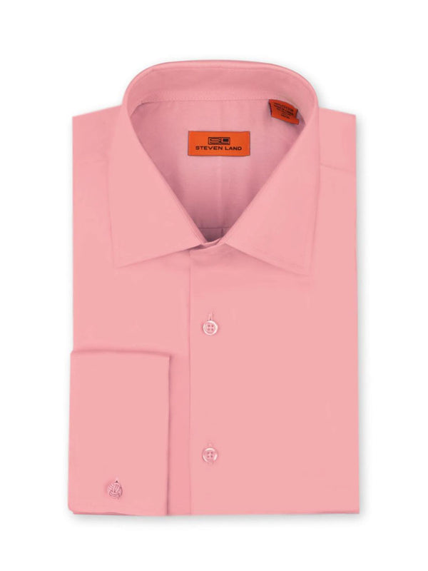 Steven Land Poplin Dress Shirt| Classic Fit | French Cuff | 100% Cotton | Color Pink