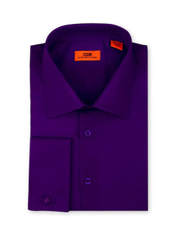 Steven Land Poplin Dress Shirt| Classic Fit | French Cuff | 100% Cotton | Color Purple