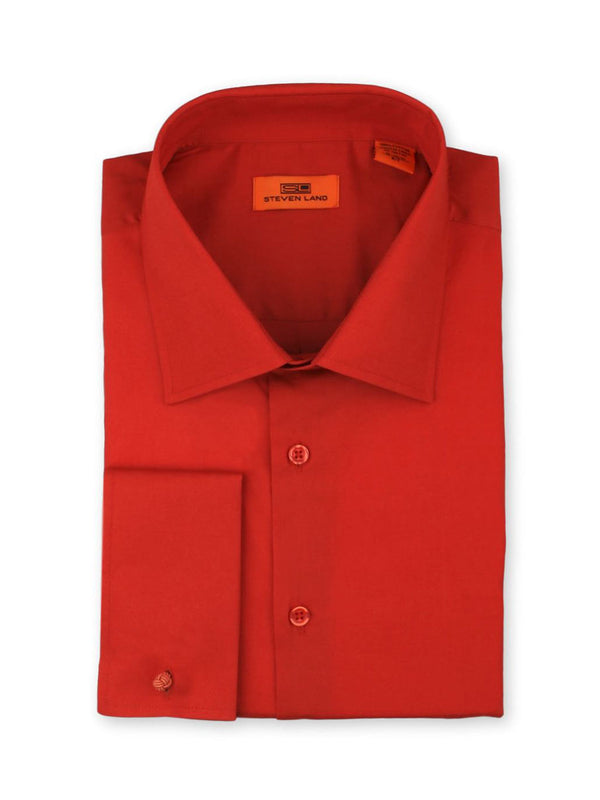 Steven Land Poplin Dress Shirt| Classic Fit | French Cuff | 100% Cotton | Color Red