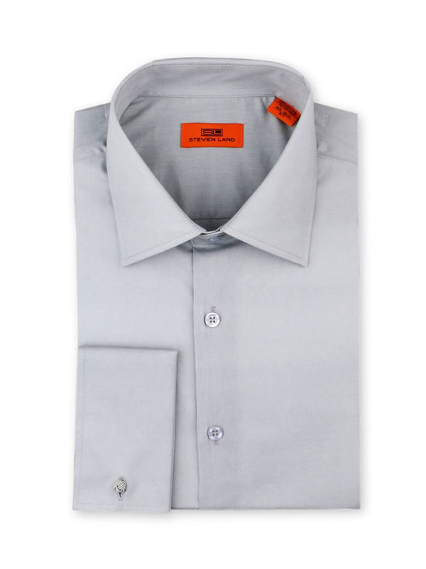 Steven Land Poplin Dress Shirt| Classic Fit | French Cuff | 100% Cotton | Color Silver