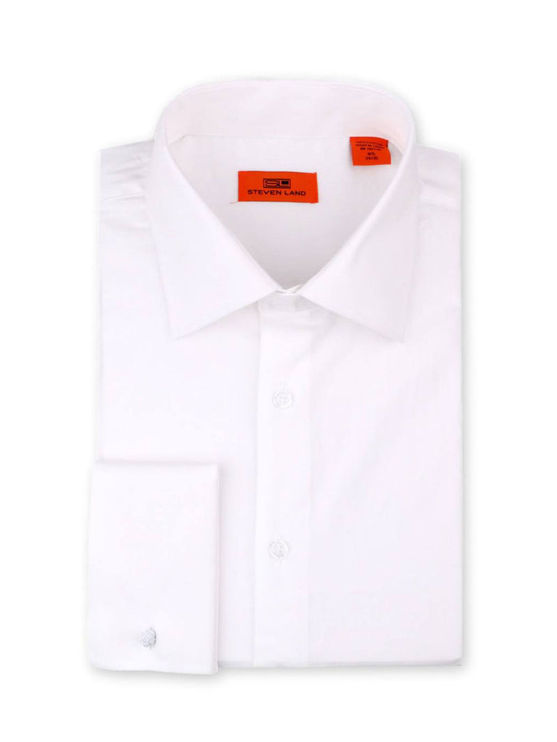 Steven Land Poplin Dress Shirt| Classic Fit | French Cuff | 100% Cotton | Color White