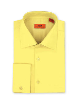 Steven Land Poplin Dress Shirt| Classic Fit | French Cuff | 100% Cotton | Color Yellow