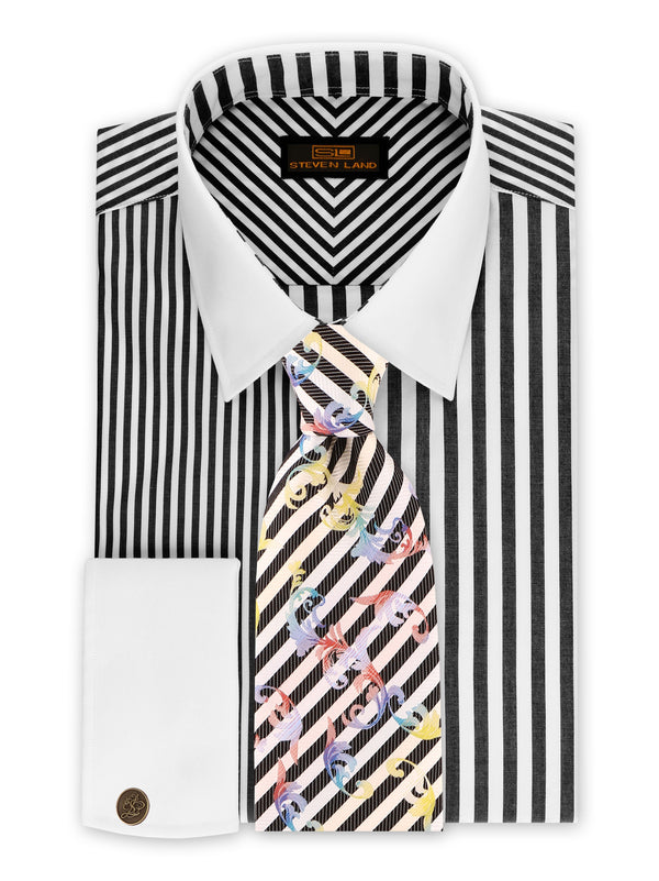 25% OFF | Steven Land | Two-Tone Stripe Shirt + Cufflink | Black