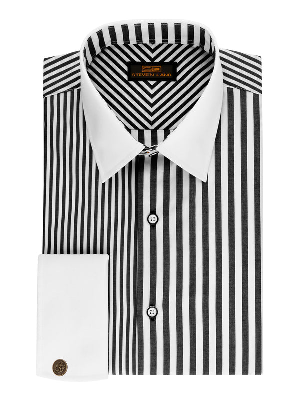 Steven Land | Two-Tone Stripe Shirt | Black