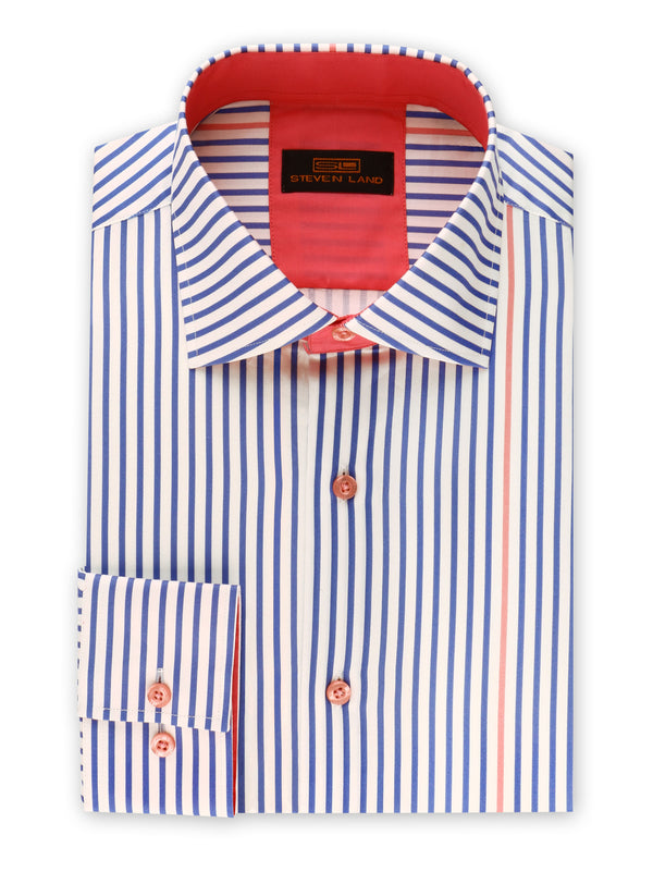 25% OFF | Steven Land | Stripe Surprise Dress Shirt | Blue