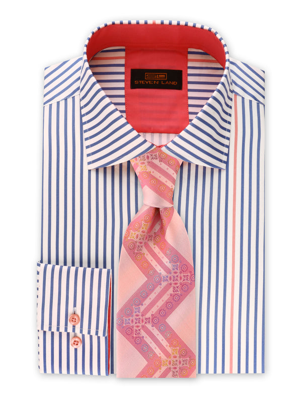 Steven Land | Stripe Surprise Dress Shirt | Blue | DS2017