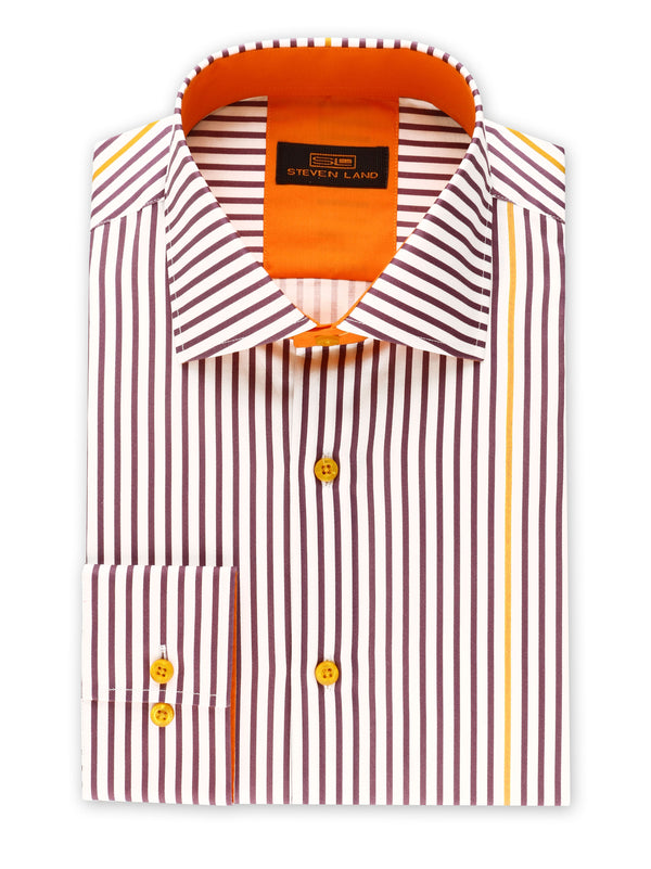 Steven Land | Stripe Surprise Dress Shirt | Plum | DS2017