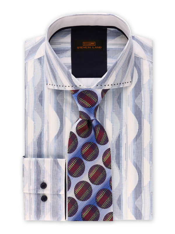 Steven Land | Linear Waves Dress Shirt | Blue | DS2018