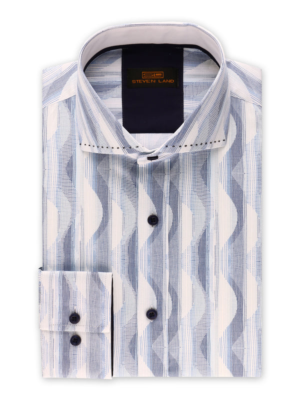 25% OFF | Steven Land | Linear Waves Dress Shirt | Blue
