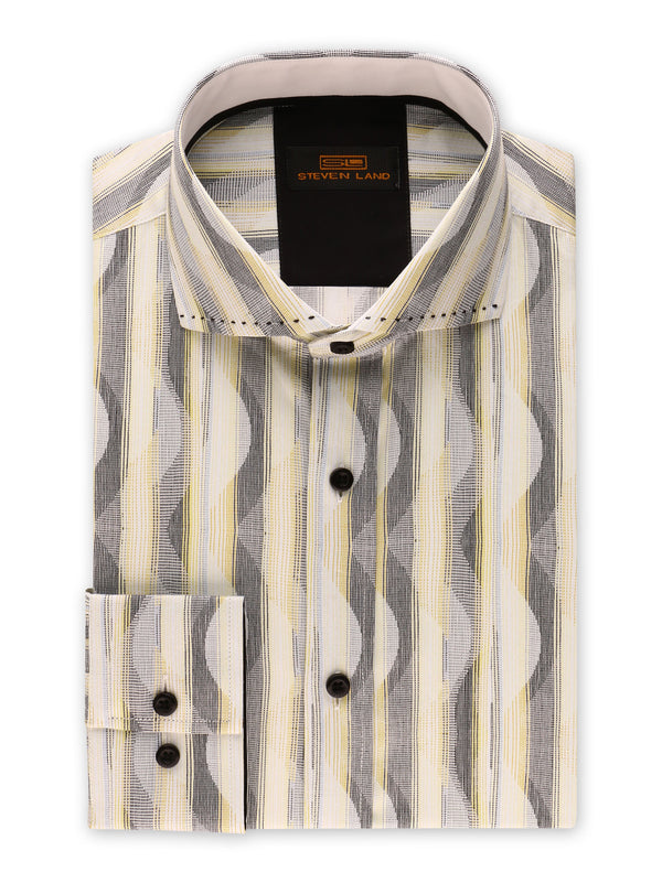 25% OFF | Steven Land | Linear Waves Dress Shirt | Yellow