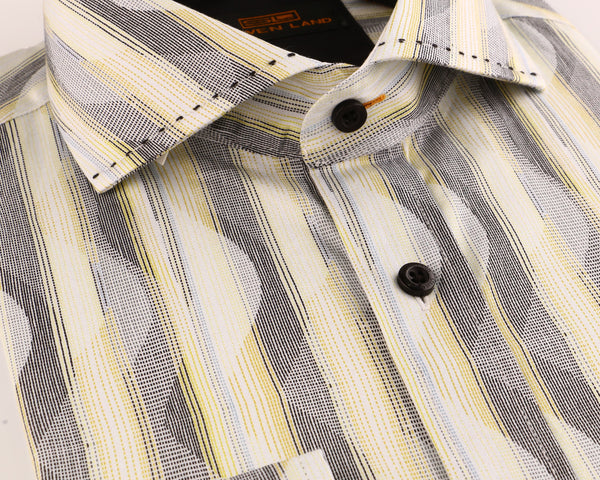 Steven Land | Linear Waves Dress Shirt | Yellow | DS2018
