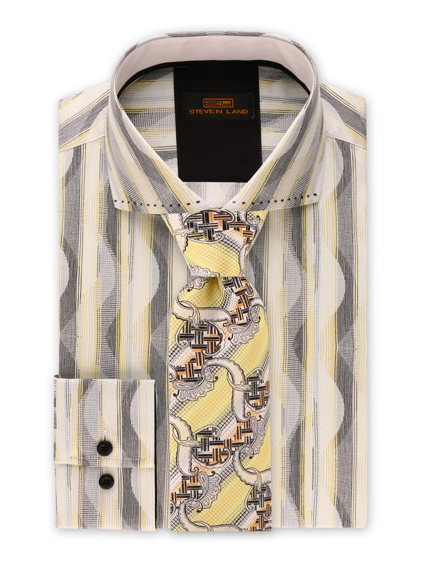 Steven Land | Linear Waves Dress Shirt | Yellow