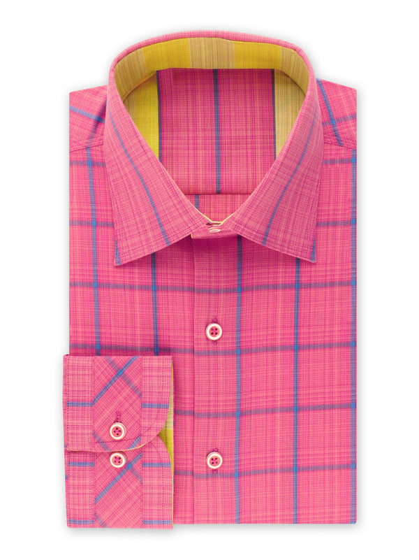 25% OFF | Steven Land | Novelty Checked Stretch Shirt | Made In Turkey | Fuchsia