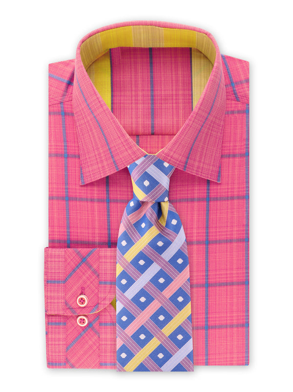 Steven Land | Novelty Checked Stretch Shirt | Fuchsia | DS2021