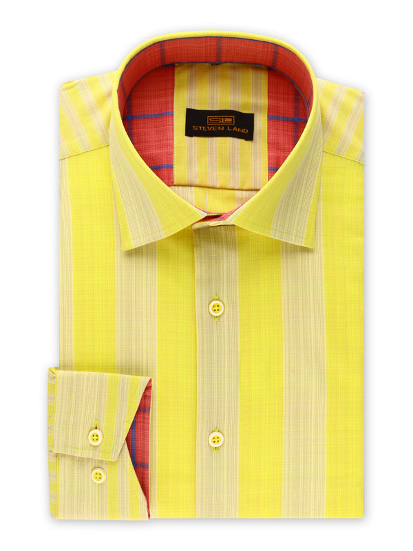 Steven Land | Movie Producer Stripe Stretch Shirt | Made In Turkey | Yellow