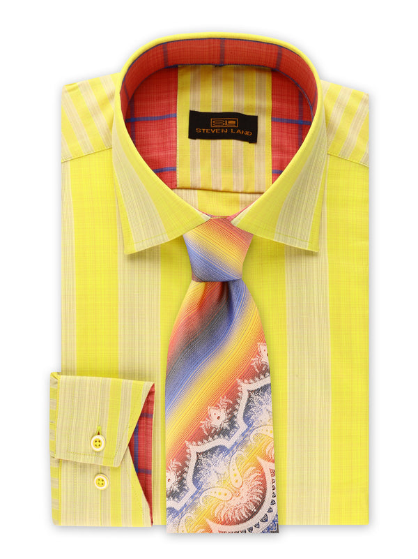 25% OFF | Steven Land | Movie Producer Stripe Stretch Shirt | Made In Turkey | Yellow