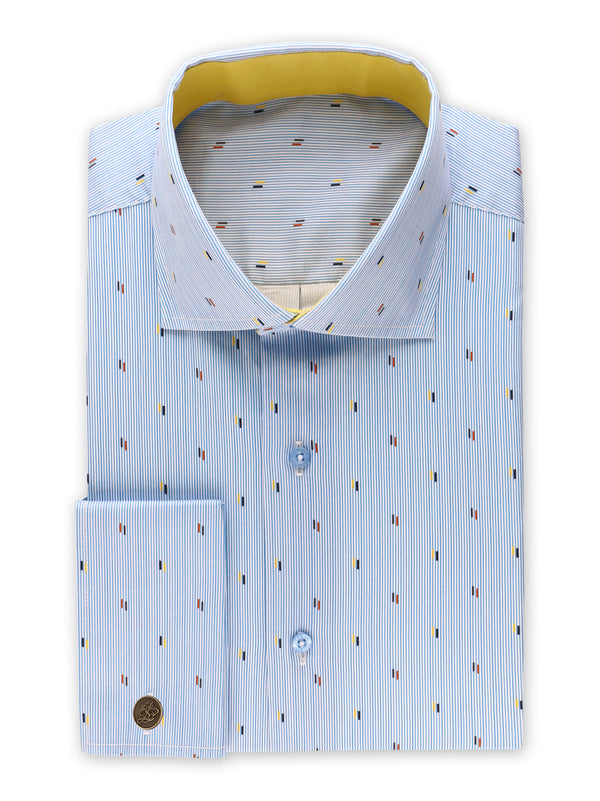Steven Land | Nautical Specks Stripe Dress Shirt | Blue | DS2030