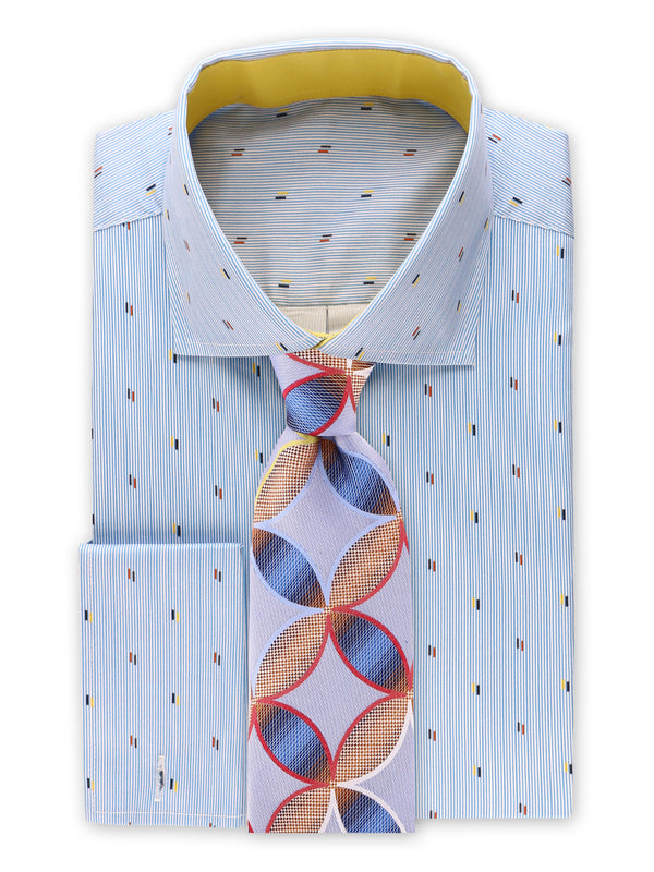 25% OFF | Steven Land | Nautical Specks Stripe Dress Shirt + Cufflink | Blue
