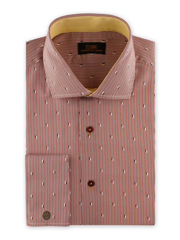 Steven Land | Nautical Specks Stripe Dress Shirt | Burgundy | DS2030