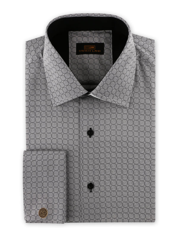 Steven Land | Swirl Geo Dress Shirt | Black | DS2032