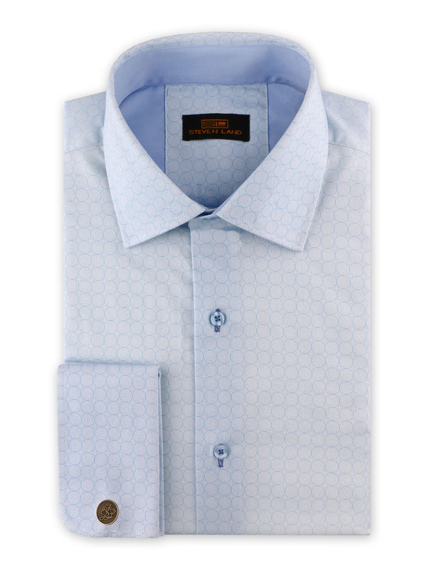25% OFF | Steven Land | Swirl Geo Dress Shirt + Cufflink | Blue