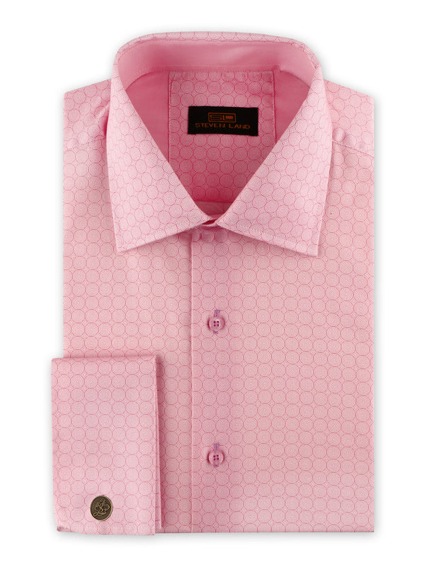 25% OFF | Steven Land | Swirl Geo Dress Shirt + Cufflink | Pink
