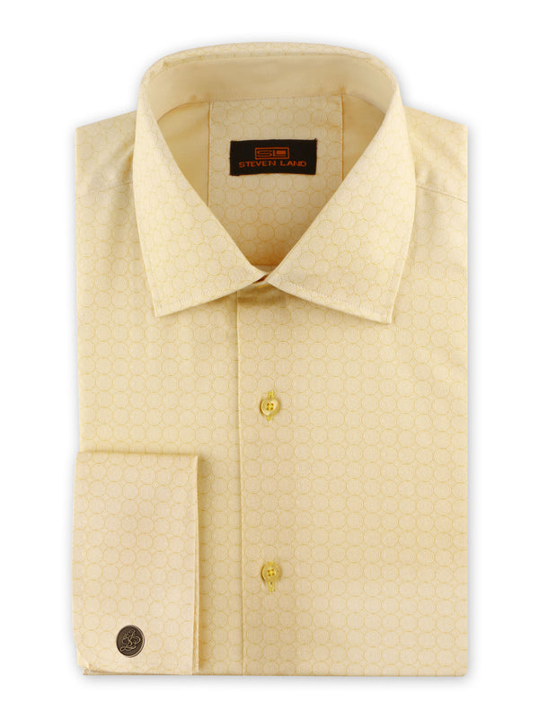 25% OFF | Steven Land | Swirl Geo Dress Shirt + Cufflink | Yellow