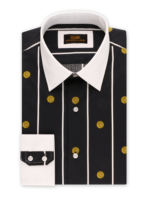 Steven Land | Greek Medallion Dress Shirt | Black