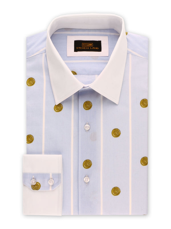 25% OFF | Steven Land | Greek Medallion Dress Shirt | Blue
