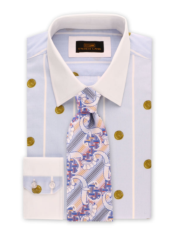 Steven Land | Greek Medallion Dress Shirt | Blue