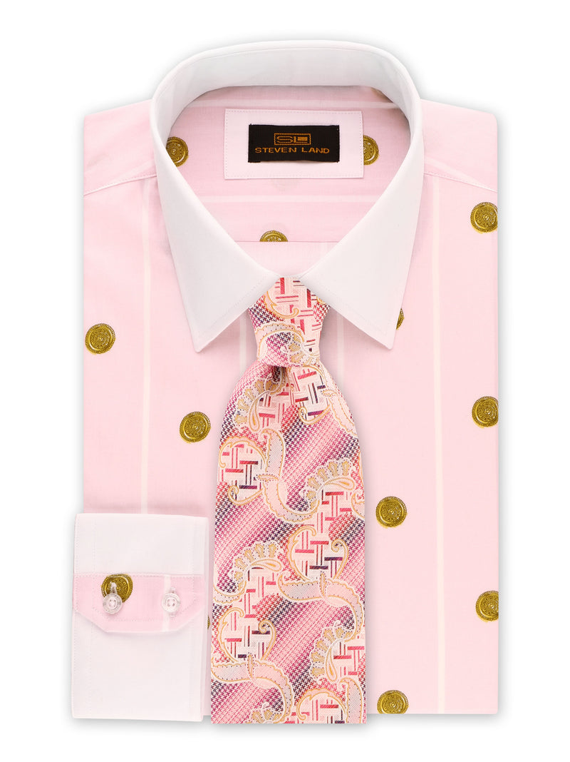 25% OFF | Steven Land | Greek Medallion Dress Shirt | Ibiza Pink