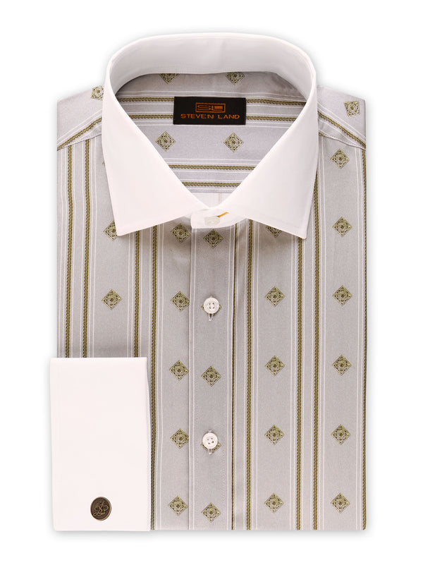 Steven Land | Roman Chains Dress Shirt | Grey