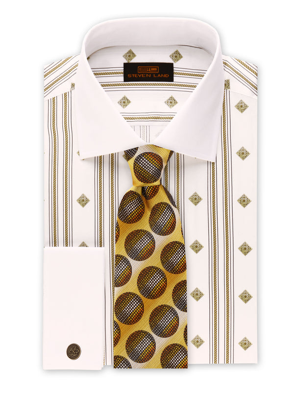 Steven Land | Roman Chains Dress Shirt | White | DS2035