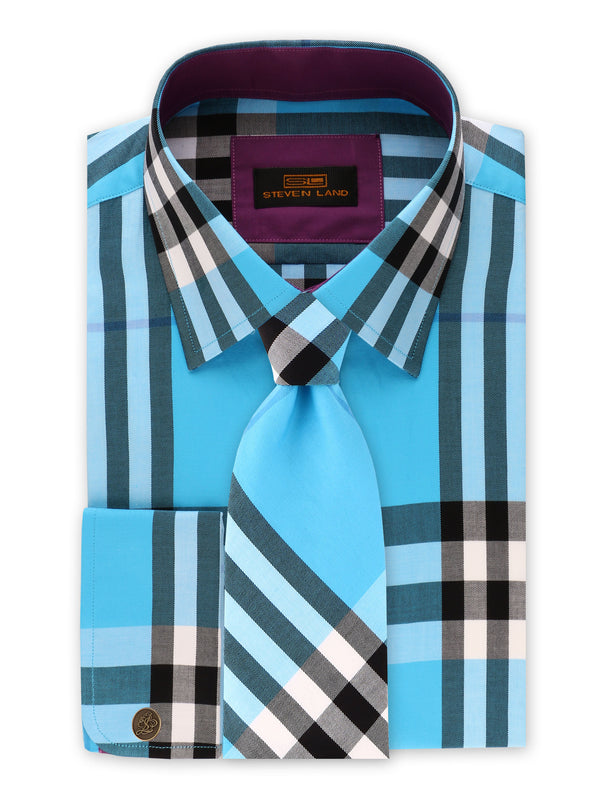 22% OFF | Steven Land | British Dress Shirt + Tie and Hanky + Cufflink | Blue