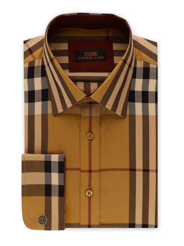 Steven Land | British Dress Shirt + Matching Tie and Hanky  | Brown | DS2054