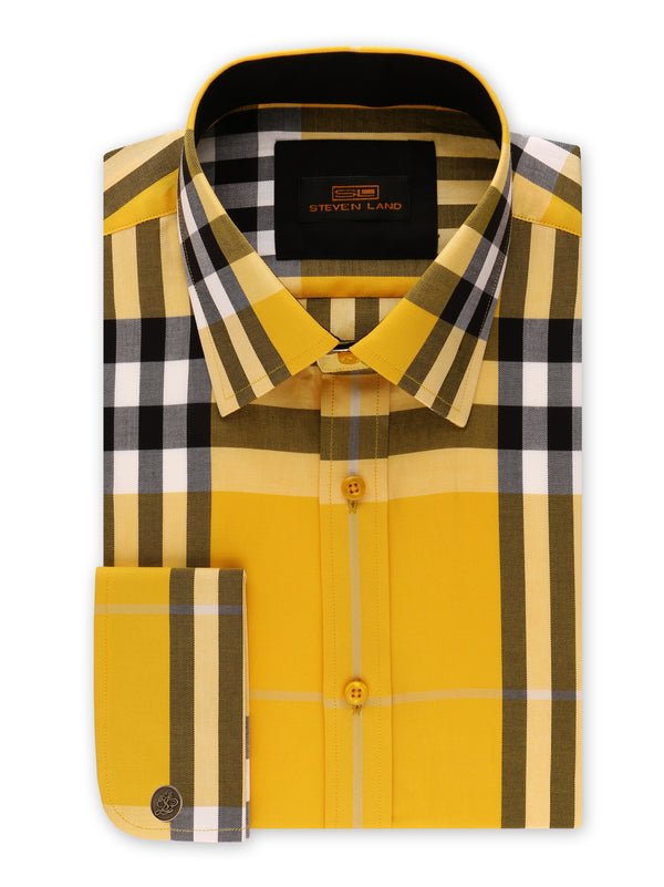 22% OFF | Steven Land | British Dress Shirt + Matching Tie and Hanky + Cufflink | Yellow
