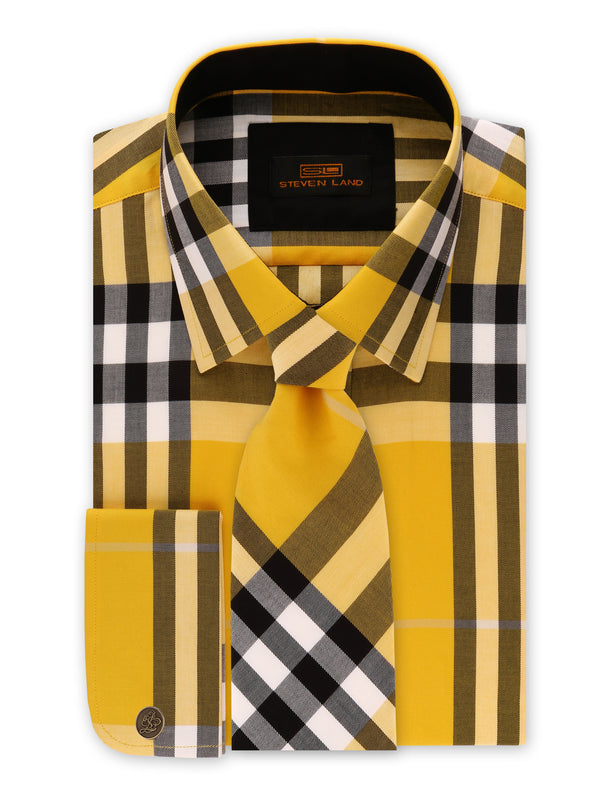 Steven Land | British Dress Shirt + Matching Tie and Hanky | Yellow