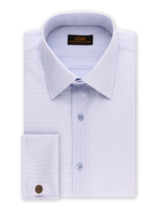 25% OFF | Steven Land | Unique Split Stripes Dress Shirt + Cufflink | Blue