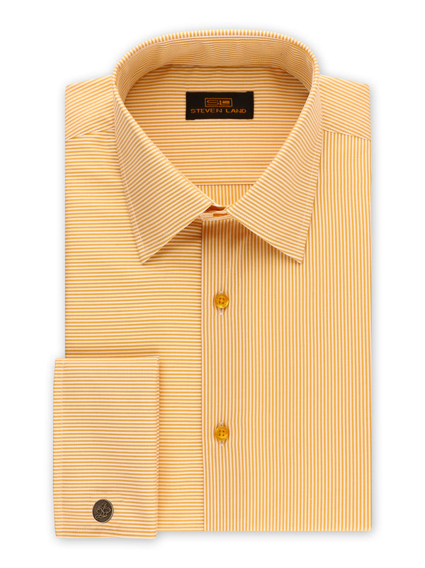 Steven Land | Split Stripes Dress Shirt | Peach | DS2056