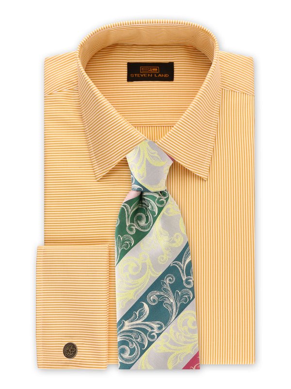 25% OFF | Steven Land | Unique Split Stripes Dress Shirt + Cufflink | Peach