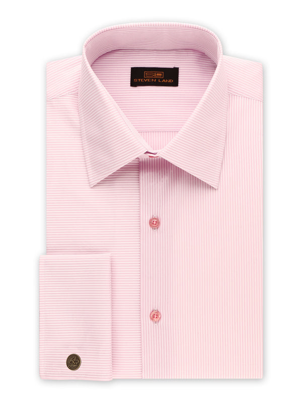 Steven Land | Split Stripes Dress shirt | Pink | DS2056