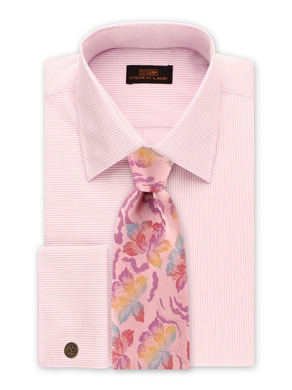 25% OFF | Steven Land | Unique Split Stripes Dress Shirt + Cufflink | Pink