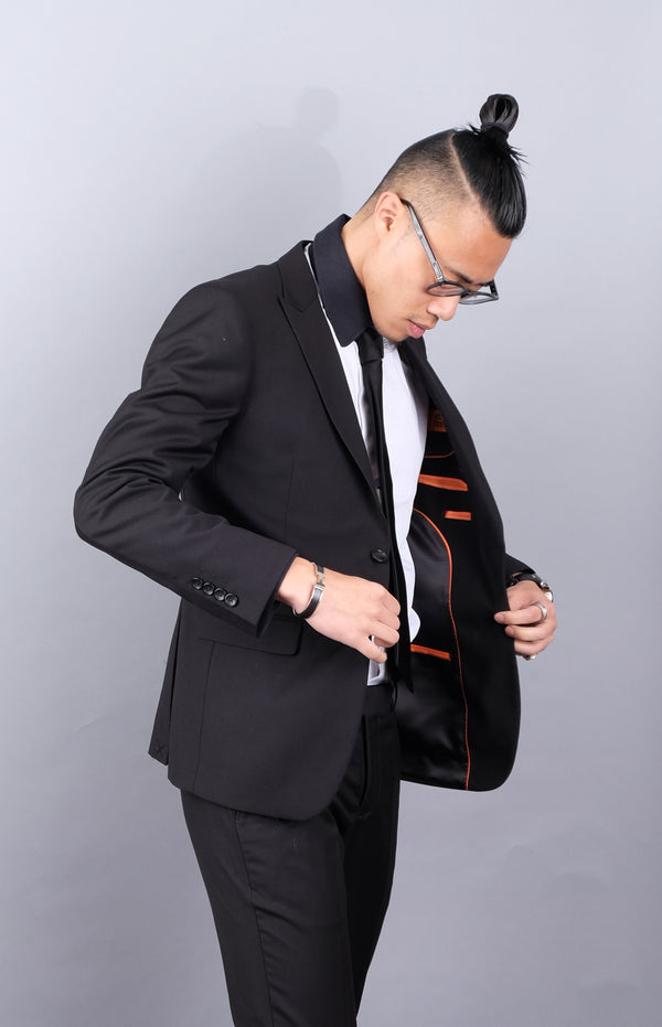 Classic Black Slim Fit Suit | Dante SL77-001
