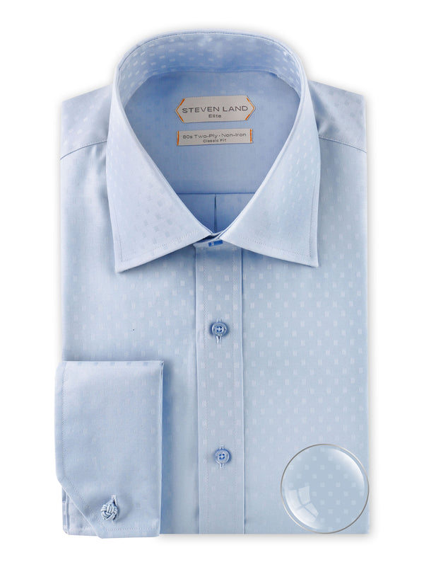 Steven Land Elite | Non Iron Micro Boxes Dress Shirt | Light Blue | DSW2038