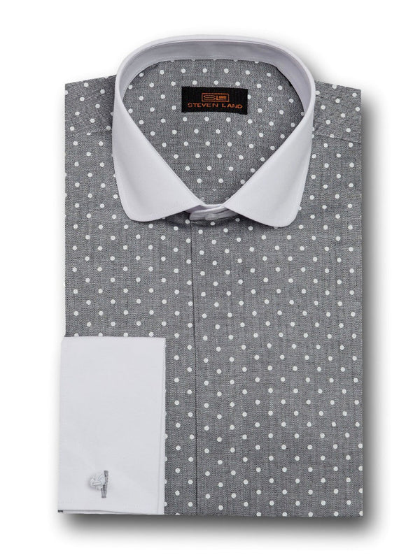 Dress Shirt | DW1708 | Classsic Fit | 100% Cotton | Club Collar | French Cuff | Black