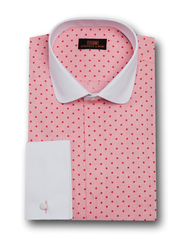 Dress Shirt | DW1708 | Classsic Fit | 100% Cotton | Club Collar | French Cuff | Raspberry